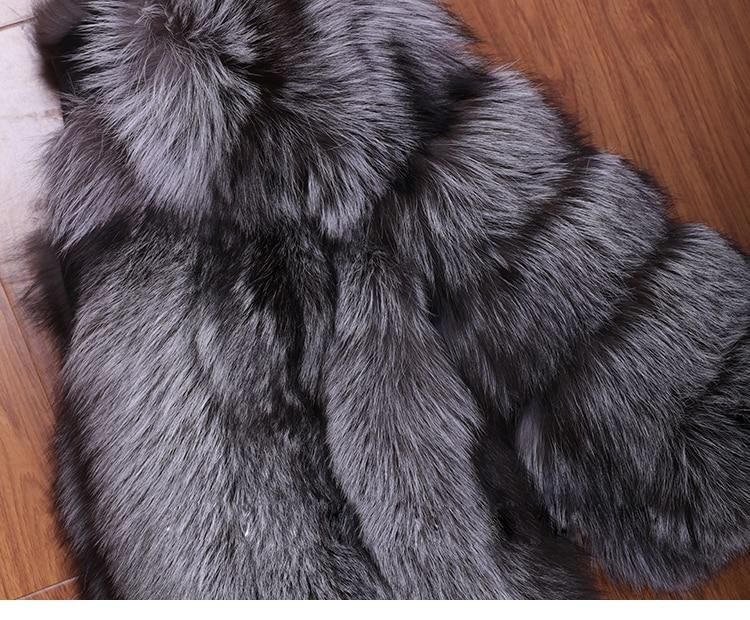 Réel Luxe Gros En Personnaliser Usine Oem Longue 100 Manteau De Veste Renard Véritable Taille Fourrure Grande Argent dpxwgnF