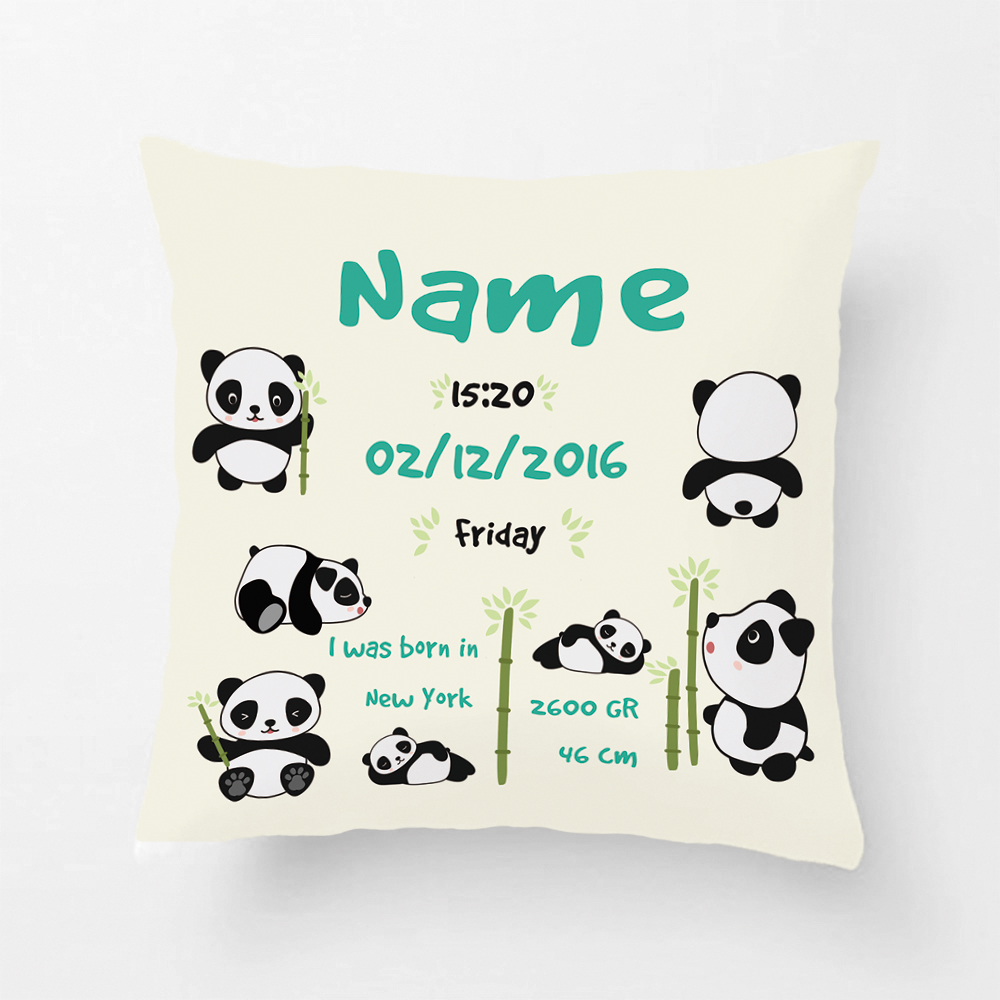 Customized With Baby Birth Data Blue Cushion Cover Cute Pandas Pillowcase Decorative Covers Pillow Case Personalized Gift