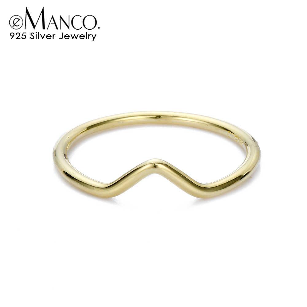 E - Manco Simple 925 แหวนเงินผู้หญิง Minimalist มงกุฎแหวนนิ้วเครื่องประดับราคาขายส่งสาวของขวัญ dropShip