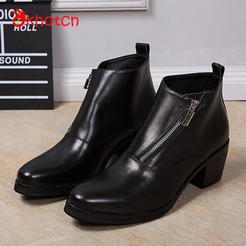 Okhotcn Hidden Heels Boots Men Genuine Leather Square High Heels Chaussure Homme Zipper Winter Fashion Plus Sizes Botas Hombre