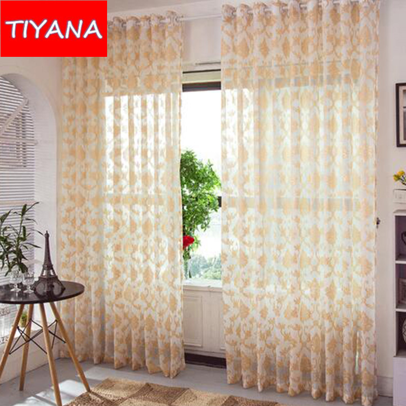 Small Pteris Luxury Attractive Tulle Cortinas White Red Nice Modern Transparent Bedroom Yarn Curtains For Living Room WP214&30