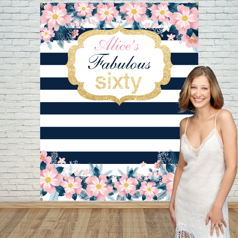 Allenjoy décors en vinyle pour la photographie rose fleur rayure mignon anniversaire arrière-plan accessoires nouveau-né tissu espace 10ft * 20ft
