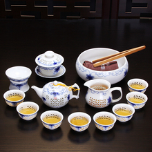 Longyin Blue And White Porcelain Honeycomb Linglong Complete Set Of Ceramic Kungfu Teapot, Tea Cup, Sea Xinyi