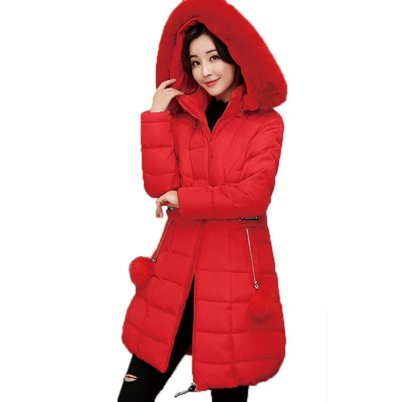 Winter New Women Coat Loose Hooded Large Fur Collar Feather Down Cotton Jacket plus size thick Female Outwear parkas M-5XL LJ061