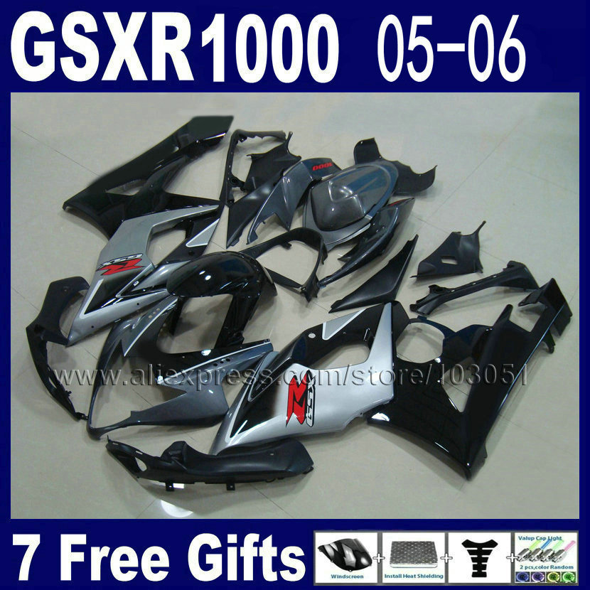Custom Injection molded motorcycle fairings kits for suzuki 2005 K5 black silver  2006 gsxr1000 05 GSXR 1000 06 fairing kit custom road fairing kits for suzuki glossy flat black 2006 gsxr 1000 k5 2005 gsx r1000 06 05 motorcycle fairings kit