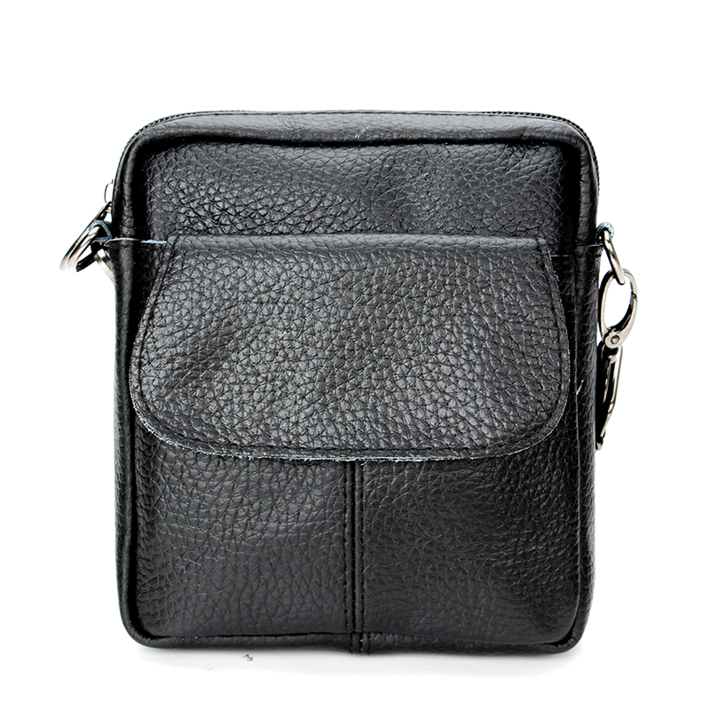 Real Genuine Leather Mens Business Crossbody Bags Solid Small Messenger Bags Large Capacity Cow Leather Single Shoulder Bag