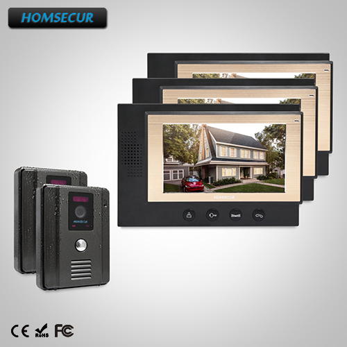 HOMSECUR 7 Wired Hands-free Video&Audio Home Intercom Electric Lock Supported(TC011-B+TM701-B)