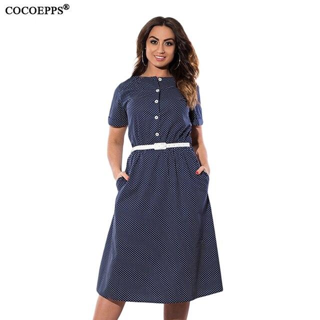 4XL 5XL 6XL женщин Большие Размеры Элегантные платья в горошек с поясом одежда летняя повседневная винтажная Вечеринка Большой размер платье