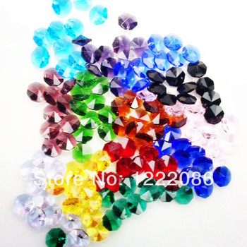 free shipping,800pcs 14mm aaa 1-hole octagon crystal glass beads chandelier chain parts crystal suncatcher mix colors