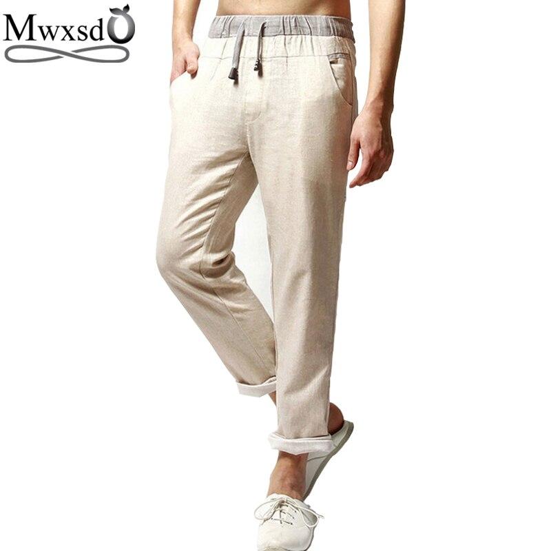 high quality 2017 brand men Casual linen pants men straight trouser pants for male