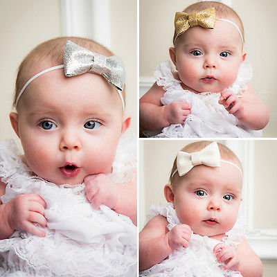 Kids Girl Baby Toddler bow Headband Hair Band Accessories Headwear For Infant Baby Boy girls Gold Silver Black White