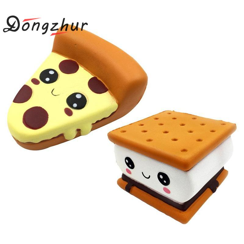 Dongzhur New Fashion Cartoon Chocolate Biscuit Squishies Pu Squishy Slow Rising Expression Pizza Cookies Slowly Rebound Toy