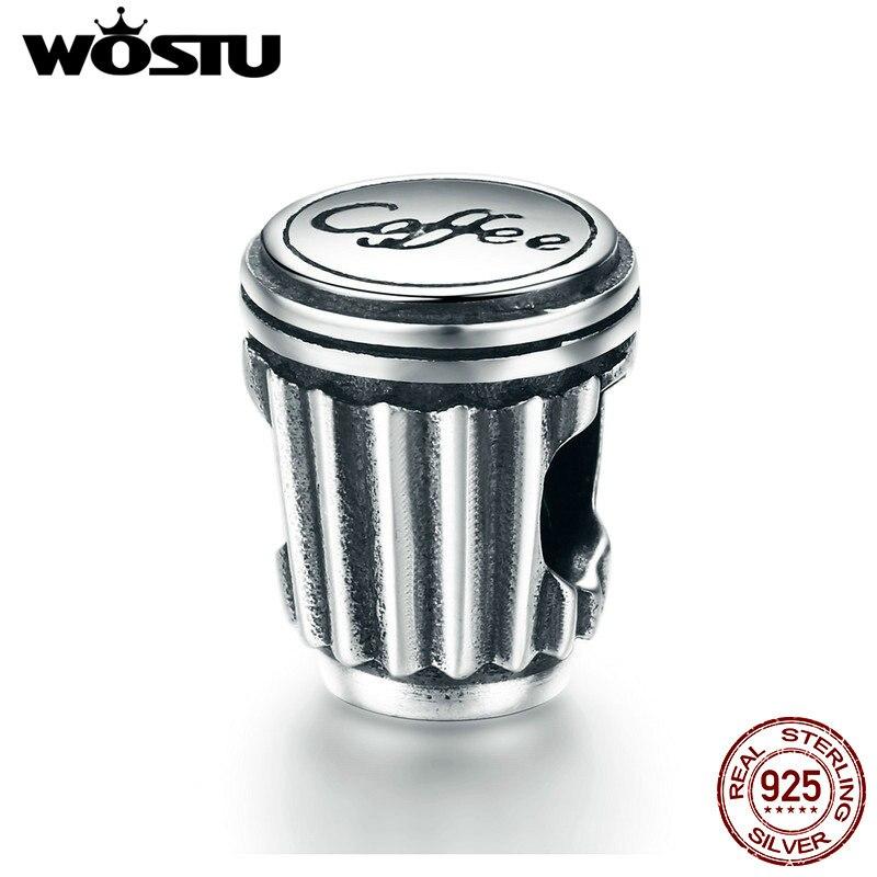 WOSTU 100% 925 Sterling Silver Coffee Love Coffee Cup Charm Beads Fit European Bracelet  ...