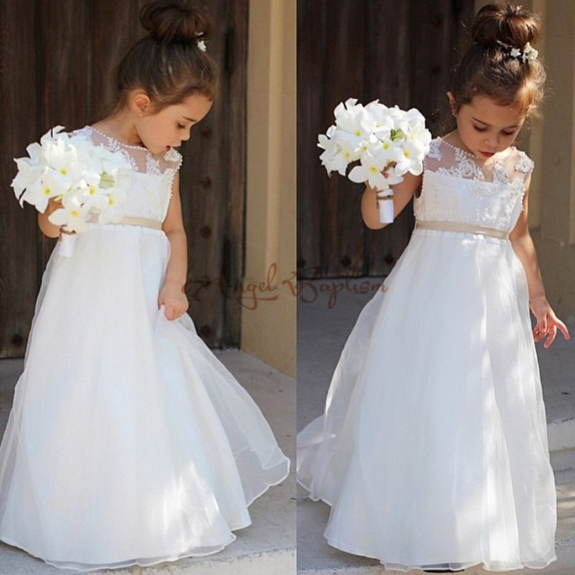 Elegant A-Line Pearls and Lace First Communion Dresses for Girls Vestidos de Comunion Casamento Flower Girl Dresses for Wedding