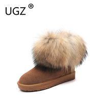 UGZ Fox Fur Winter Boots Woman Genuine Leather Casual Flat Snowboots Super Warm Plus Plush Winter