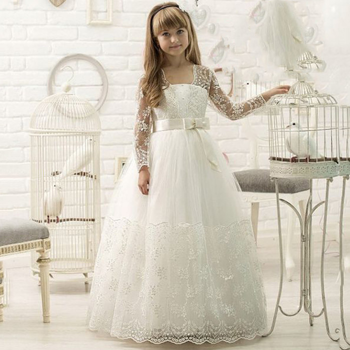Vintage New Flower Girl Dresses Long Sleeves Ball Gown White/Ivory Appliques First Communion Gowns For Junior Pageant Vestidos new white and blue lace flower girl dresses birthday party pageant prom glitz frocks first communion ball gowns for juniors
