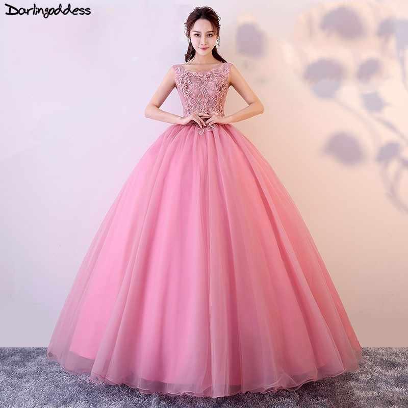 a86a3b5e178 Vestido Quinceanera Debutante Cheap Ball Gown Quinceanera Dresses Pink 3D  Flowers Sleeveless Sweet 16 Dress Vestidos