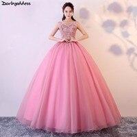 Vestido Quinceanera Debutante Cheap Ball Gown Quinceanera Dresses Pink 3D Flowers Sleeveless Sweet 16 Dress Vestidos De 15 Anos