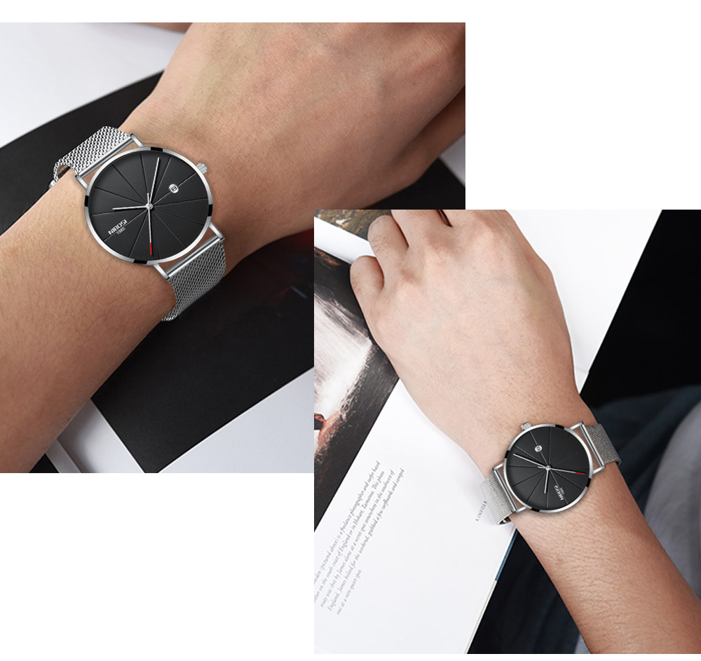 NIBOSI watch men black quartz wristwatches stainless steel mesh brand  watches men ultra thin quartz relogio masculino dourado (16)