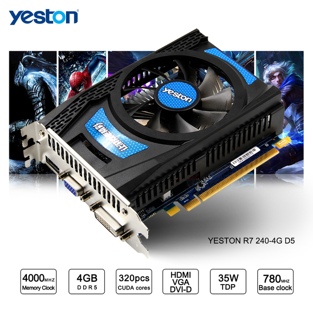 Yeston Radeon R7 200 Series R7 240 GPU 4GB GDDR5 128bit Gaming Desktop PC  Video Graphics Cards support VGA/DVI/HDMI-in Graphics Cards from Computer &