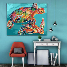 paint by numbes art painting by numbers Turtle Animal manual DIY Realism Oil painting Hanging picture Handcrafts love gift(China)