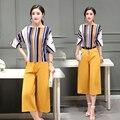 Весна 2017 новых женщин темперамент 2 шт. свободные повседневная мода полосатой рубашке + широкие брюки ноги одеть женщин sutt
