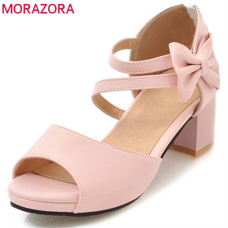 MORAZORA 2020 New Arrival Women Sandals Fashion Sweet Bowknot Summer Shoes Big Size 34-47 Pink Casual Shoes Simple Shoes Woman