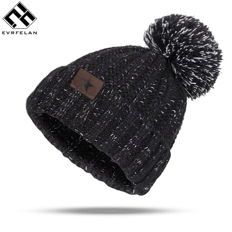 Gorros sólidos de alta calidad gorra de mujer pompones Otoño Invierno sombrero de hombre de punto calaveras cálidas gorros sombrero Dropshipping