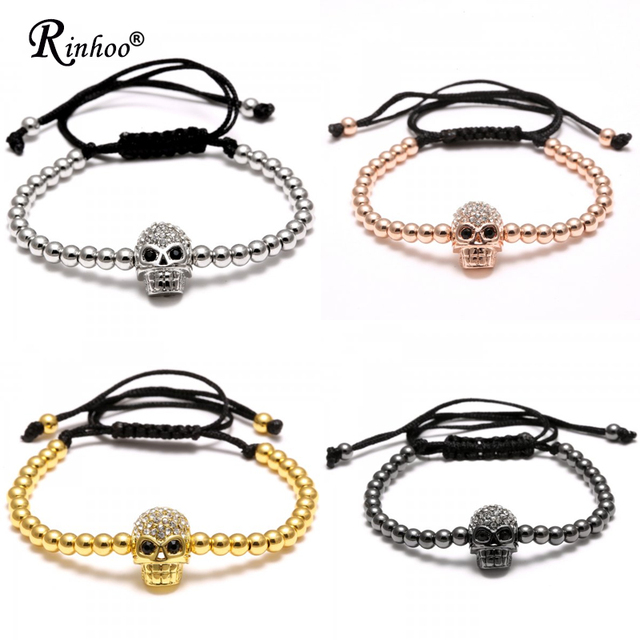 Rinhoo Handmade Beads Skull Head Braided Macrame Charm Wrap Cord Beaded Bracelet Bangles Adjustable Rope Jewelry For Men Women