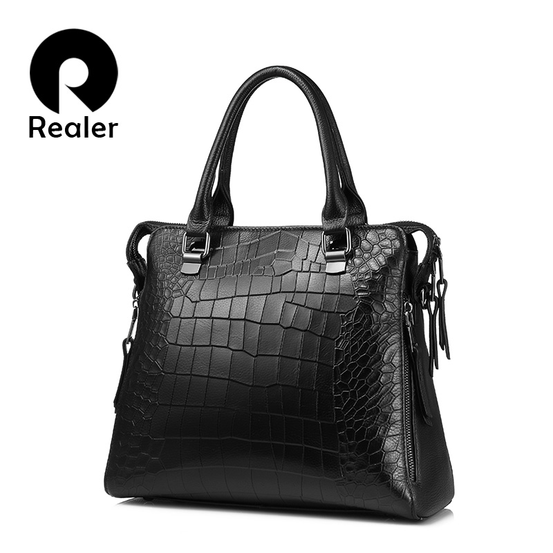 REALER brand women handbag genuine leather tote bag for work briefcase  luxury alligator embossed leather top-handle shoulder bag 046f73b9803e5