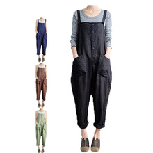 Women  Leisure Clothes Retro Loose Wide Leg Pants College Style Female Overalls 2019 Summer Fashion