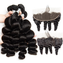 Alibele Peruvian Loose Wave 4 3 Bundles With Frontal Closure Virgin Human Hair Weave Extension Pre Plucked Frontal With Bundle(China)