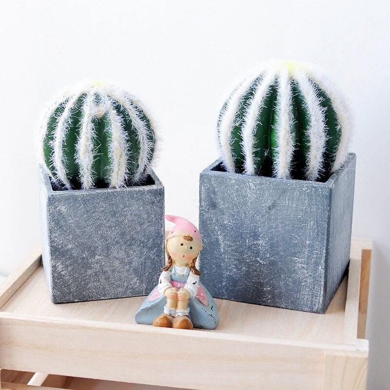 H17*9CM 1Set Home Ornaments Simulation Cactus Plants Artificial Flowers with Vase Desktop Des Indoor Decorative Set Gifts