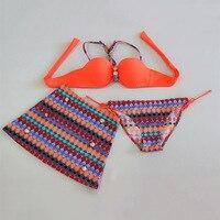 2016 Fashion Bohemia Floral Bikini Set Skirt 3 In 1 Swimwear Women Bathing Suit Swimsuit Push