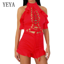 YEYA Sexy Machine Eye Hanging Neck Wooden Ear Short Jumpsuits Summer Open Back Hollow Out Bodycon Bandage Ruffles Playsuits