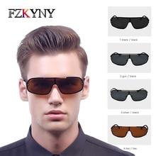 FZKYNY Classic Square Polarized Sunglasses Men Brand Designer Mens Integrated Fashion Drivers Goggles UV400 Eyewear