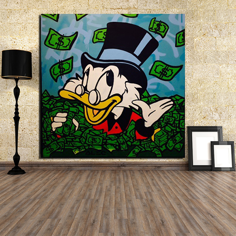 Alec Monopoly Duck Wall Art Canvas Painting Poster Prints Modern Picture For Living Room Home Decoration Cartoon