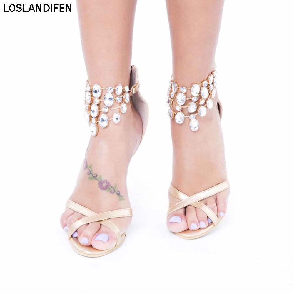 2018 Big Size Hot Sale Ladies Womens Handmade Barely Foot Rhinstone Deco Summer High Heel Sandals Shoes XD230 in High Heels from Shoes