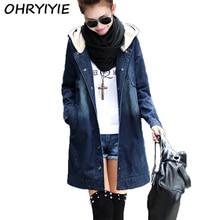 OHRYIYIE New Long Fashion Hooded Denim Jacket Women 2017 Spring Autumn Plus Size Denim Coat Jackets Femme Jean Outerwear M-XXXL