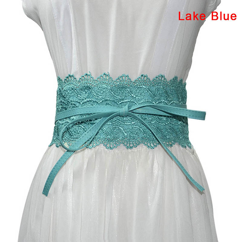 1 Pcs Women Lady Dress Belt Lace Wide Waist Strap PU Decoration Fashion Waistband TC21