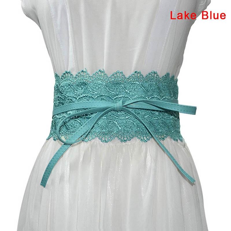 1 Pcs Women Lady Dress Belt Lace Wide Waist Strap PU Decoration Fashion Waistband TC21