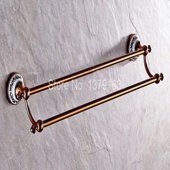 Luxury Rose Gold Brass Ceramic Base Wall Mounted Bathroom Double Towel Bar Towel Rack Towel Rails Holder Bath Fittingaba382