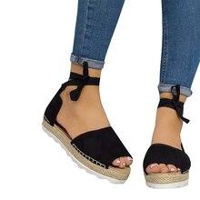 2019 Summer Platform Bandage Sandals Women Soft Scrub Casual Fashion Open Toe Gladiator Flat Shoes