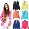 Mujeres Europa America candy color del forro raya blazer una hebilla pequeña cultivo de manga larga chaqueta de la chaqueta