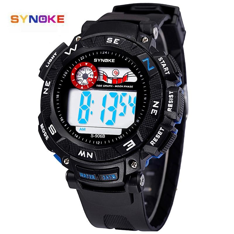 SYNOKE Watches Men Clock Alarm Sports-Wristwatch Quartz Digital Waterproof Blue Date