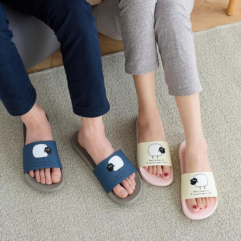 ASIFN Women Slippers EVA Men Slides Couple Cute Sheep Indoor Summer Loves Shoes Zapatos Mujer Flip Flops 26