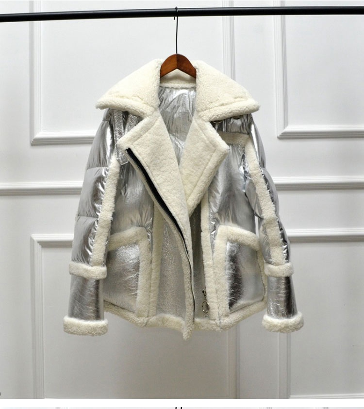 genuine leather and fur duck down coat silver (9)