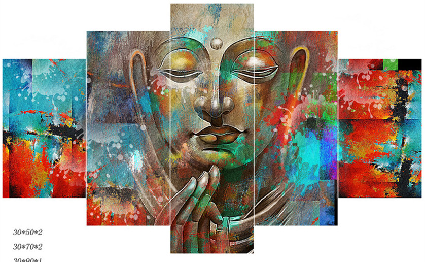 5 Panel Canvas Art Modern Wall Picture Home Decor Buddha
