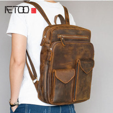 AETOO Durable Horse Leather Men's Leather Shoulder Bag Travel Backpack Head Cream Leather Bag