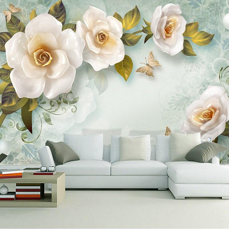 Custom 3D Mural Wallpaper Embossed Rose European Retro Mural Art Mural Living Room Sofa Bedroom TV Background Wallpaper Mural